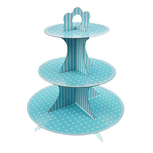 Shxstore 3-Tier Stacked Round Cardboard Paper Cupcake Dessert Display Stand Tower, Light Blue, 1 (Blue Cupcake Stand)