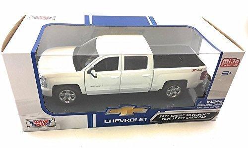 2017 Chevy Silverado 1500 Z71 Crew Cab Pick-Up Truck, White - Motor Max 79348WH - 1/24 Scale Diecast Model Toy (White Motor)