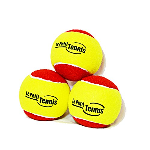 Le Petit Tennis 'Slow Bouncer' 36' Yellow/Red Tennis Balls Kids - Pack3 - (Stage 3 Ball - For Playing on 36ft Court)