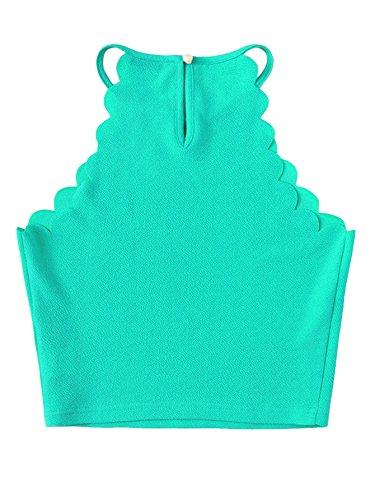 MAKEMECHIC Women's Solid Halter Neck Cami Scallop Trim Workout Crop Top 1-Green L