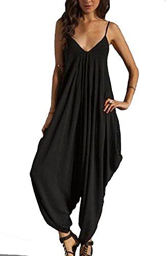Kufv Women Fashion V-neck Spaghetti Strap Loose Jumppsuit Harem Cross Pant Long Rompers