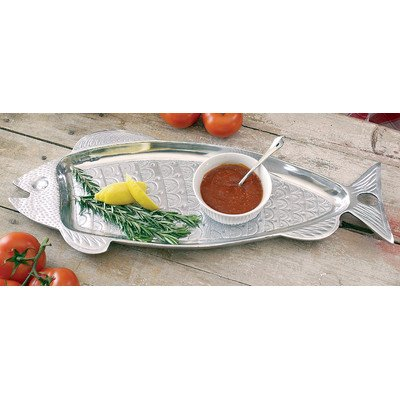 KINDWER Huge Aluminum Fish Serving Tray, 22-Inch, Silver