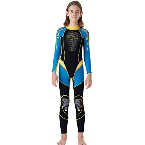 (FEDULK Kids Scuba One Piece Diving Suit Neoprene Snorkeling Surfing Swimwear Wetsuit for Water Sport(Blue, Small))