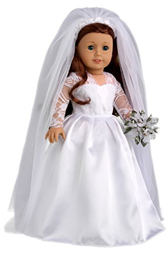 DreamWorld Collections - Princess Kate - Royal Wedding Dress with White Leather Shoes and Tulle Veil - Clothes Fits 18 Inch American Girl Doll (Doll Not -