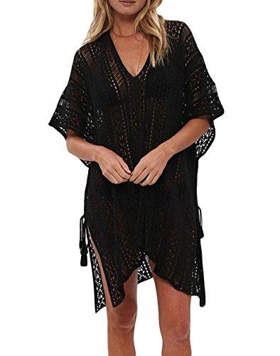 Detail Kimono (FIYOTE Women Crochet Knitted Tassel Tie Kimono Beachwear Cover UPS Dress One Size Black)