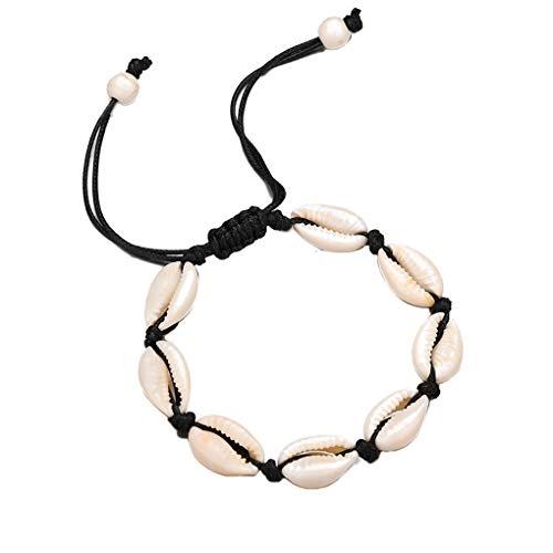 Handmade Weave Shell Women Wristband Girls Pendant Bracelet Lady Retro Bohemian Adjustable Bangles ()