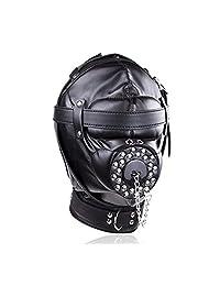 Jiuhexu Black Leather Costume Mask Hood All Colsed with Mouth Gag Headgear Harness