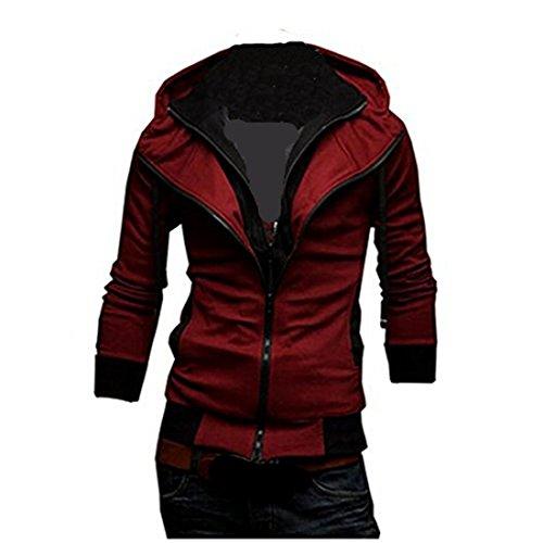 Mens Casual Zip Up Top Hoodie Jackets Slim Coats (XL, Red)