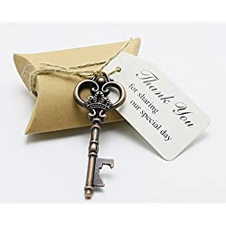 50pcs Wedding Favors Candy Box w/ Antique Skeleton Key Bottle Openers Escort Card Thank You Tag Pillow Box (Key Style #5)