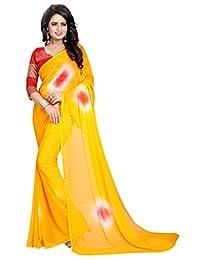 Shonaya Women's Chiffon Yellow Printed Saree with Unstitched Blouse Piece