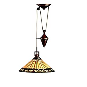 Kichler Lighting 65273 1-Light Yakima Art Glass Counter-Weight Adjustable Pendant, Tannery Bronze