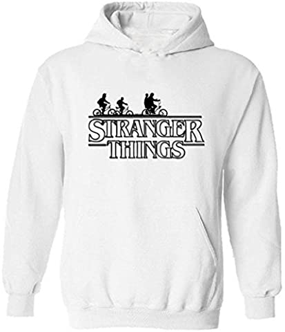 icustomworld Stranger Things Ride Bike Hoodie Netflix Series Hooded Sweatshirt M White - Thing Mens Hoodie