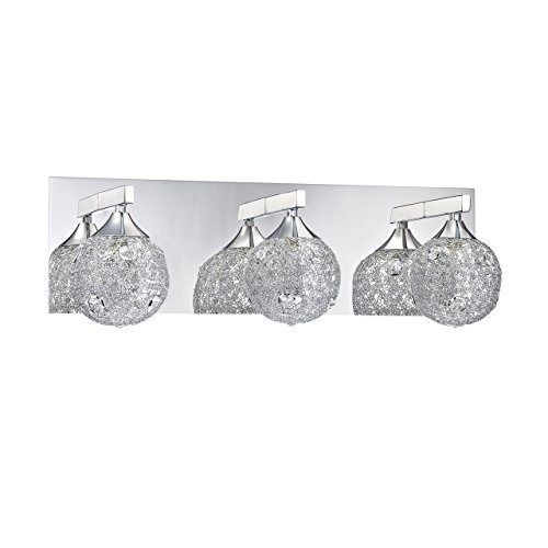 - Kendal Lighting VF4000-3L-CH Solaro 3-Light Vanity Fixture, Chrome Finish and Optic Crystal Jewel Accents