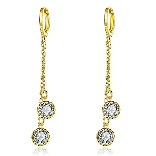 AmDxD Jewelry Gold Plated Women's Gold Earrings Link Ball - Earrings Pave Link