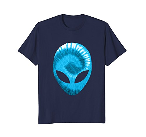 Mens Alien Head T-Shirt Extra-terrestrial Blue Holographic Glow Large Navy ()