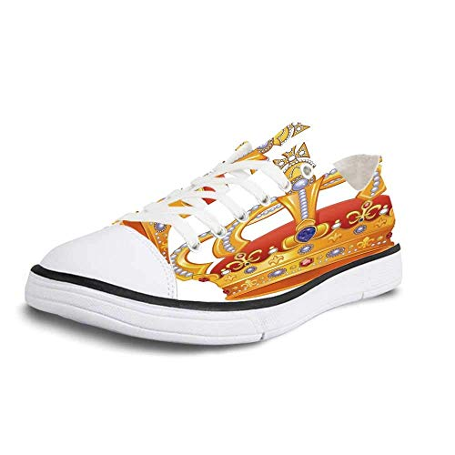 Canvas Sneaker Low Top Shoes,King Royal Crown with Gem Like Image Symbol of Imperial Majestic Print Women 11/Man 8