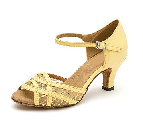 Lacets Femmes Mesh 5 Pour 5 Salsa Fashion Uk Dance Latin Jaune Sandales Minitoo Chaussures BH4qwH