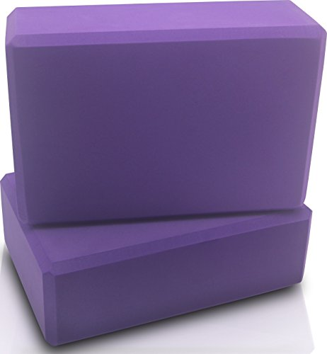 Sturdy and Dense Foam Yoga Block (set of 2) - Purple Color, Slip Resistant, 3 x 6 x 9 Inch - by Utopia Home