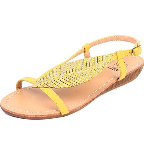 Alexis Leroy - hojas Sandalias planas de Gladiador T-correa para mujer Amarillo