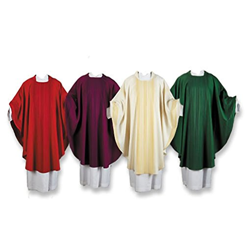 Tomaso Gothic Style Chasuble with Square Cut Collar and Striped Pattern - Green