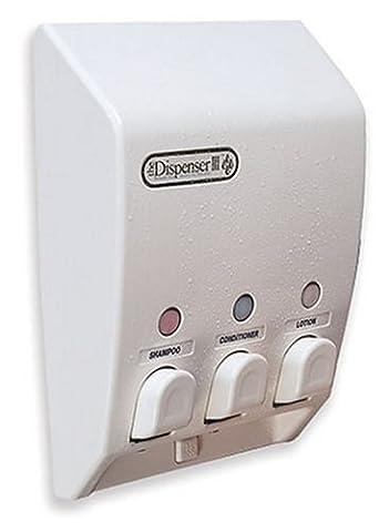 Better Living Products 71355 Classic 3-Chamber Shower Dispenser, White (Bathroom Shower Soap Dispenser)