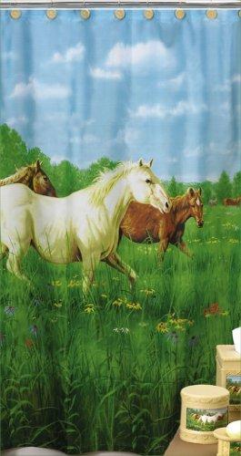 Creative Bath Prairie Meadow HORSE Bathroom bath SHOWER CURTAIN pony