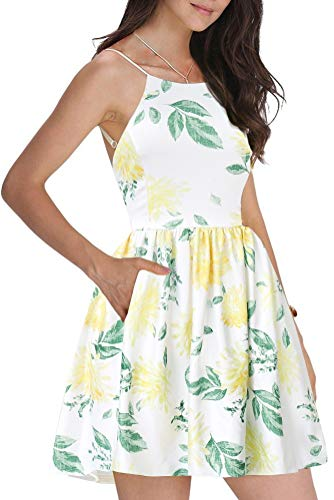FANCYINN Women's Floral Print Short Dress Spaghetti Strap Backless Mini Skate Dress Chrysanthemum L