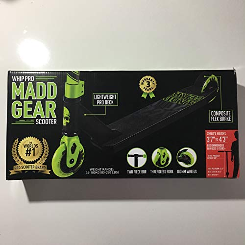 Madd Gear Whip-Pro Scooter, Black/Green (Scooter Pro Madd Gear)
