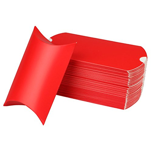 (vLoveLife 5'' X 3.5'' Red Cute Pillow Kraft Paper Gift Boxes Wedding Party Favor Favour Gift Candy Box 13cm x 9cm - Pack Of 50)