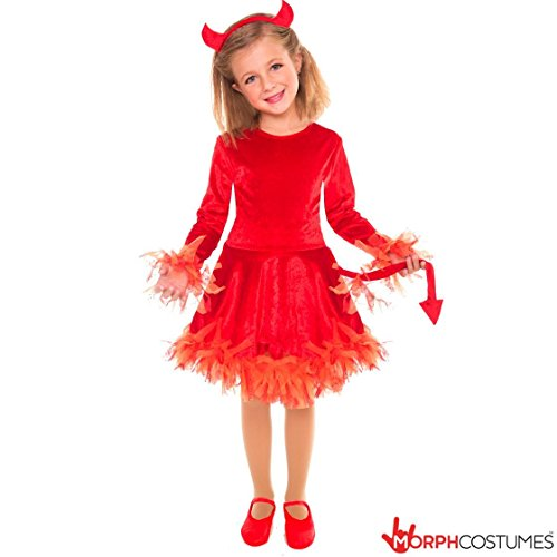 [Girls Devil Evil Warlock Wizard Fancy Dress Costume - 3 Piece Quality Costume] (Devil Girl Outfit)