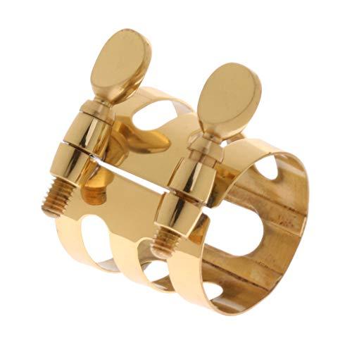 Homyl Saxofón Alto Boquilla Abrazadera Boquilla Ligadura Sujetador Saxofón Oro
