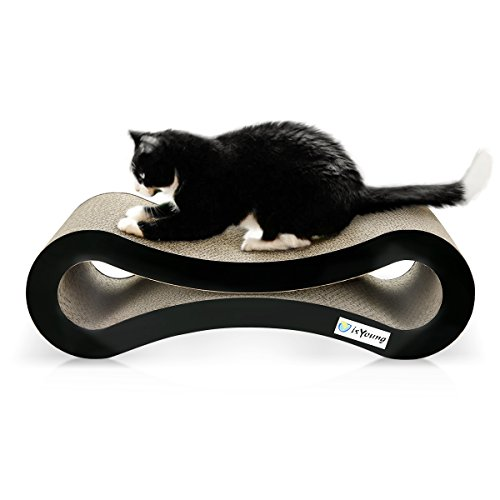 Cat Scratcher Lounge isYoung corrugated Cat Scratcher Cardboard Protector for Furniture Couch Floor Eco-friendly Toy - Keep Cats Fun Healthy Come with Catnip