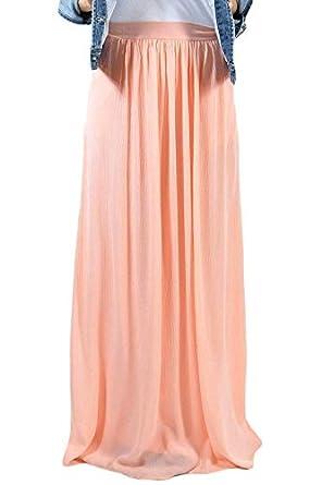 a6ab27680 Boldgal Girl's Western Wear High-Waist Pleated Maxi Skirt X-Large Pink
