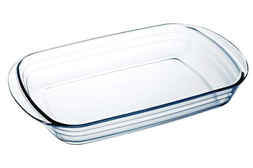 Arcuisine Borosilicate Glass Rectangular Roaster 16 x 10.5-Inch (40,5x27x7 centimeter) 4.6 Liter