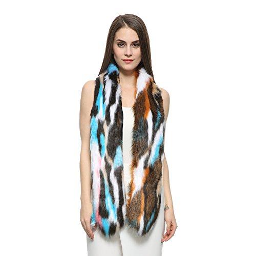 Dikoaina Women's Fashion Colorful Winter Faux Fur Scarf Collar Wrap Stole (Collar Scarf)