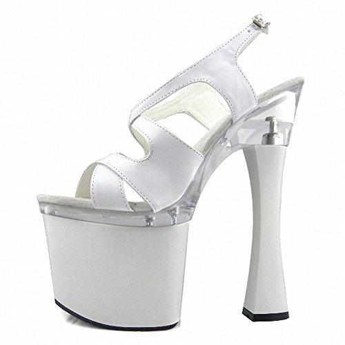 L@YC Women'S High Heels 18cm Thick With Peep Toe White Dance Sandals White lB23iXX4uu