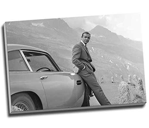 Sean Connery 007 James Bond Aston Martin Db5 Canvas Print Wall Art Picture Canvas Prints Large A1 30 X 20 Inches (76.2Cm X 50.8Cm)