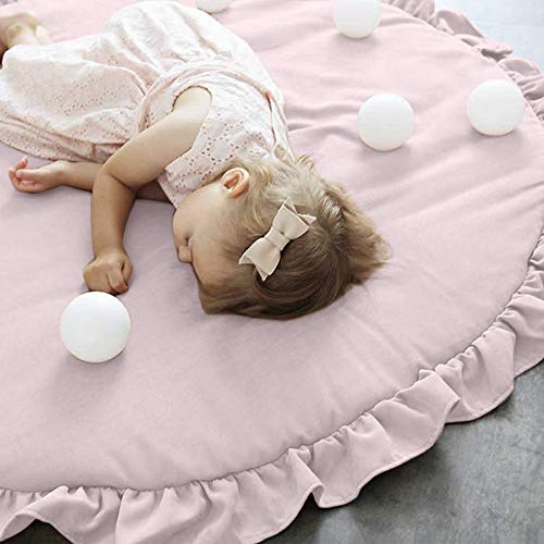 Gotian Non-Slip Baby Infant Creeping Mat, Round Soft Cotton Crawling Play Mats, Play Game Mat Crawling Blanket, Bed Canopy Floor Rug Pad Carpet for Children Developing Nursery Room Decor (Pink)]()