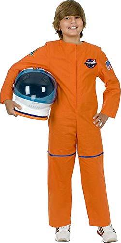 (Kids Boys Orange Astronaut NASA Costume And Helmet Bundle XL)