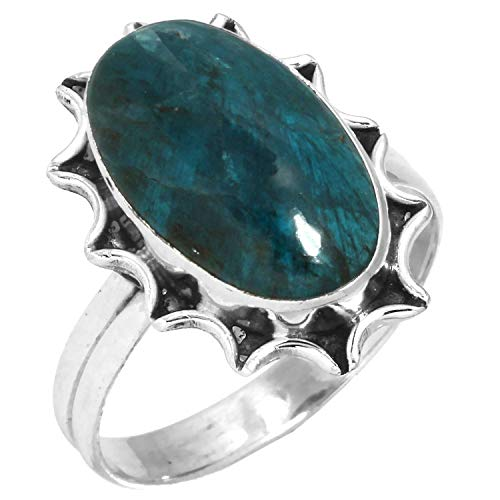 Solid 925 Sterling Silver Ring Natural Neon Blue Apatite Designer Jewelry Size 10.5 ()