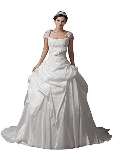 beaded angel sleeve wedding dress - 6