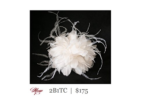 Silk Chiffon Pom Pom and Feather Bridal Comb by Renee Rivera Couture Hair Accessories