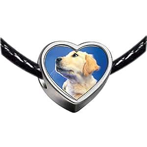 Chicforest Silver Plated Golden Retriever Puppy Photo Heart Charm Beads Fits Pandora Charm Bracelet