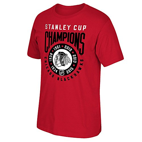 adidas Chicago Blackhawks Reebok 6X Stanley Cup Champions Ring Red T-Shirt Men's