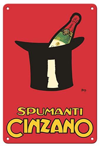 Pacifica Island Art 8in x 12in Vintage Tin Sign - Asti Spumanti Cinzano - Italian Sparkling Wine by Achille Mauzan