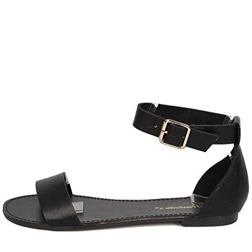 Breckelles Femmes Bout Ouvert Boucle Sangle De Cheville Gladiateur Sandales Plates Chaussures Noir
