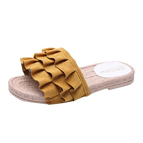 hunpta Women Fashion Solid Color Hollow Out Square Toe Flat Heel Flat Sandals Yellow