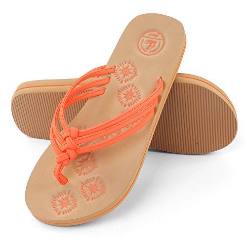 - Aerusi Women's Braid Thong Sandals Flip Flops (Size 7, Coral)