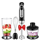 Immersion Blender, Aicok 4-in-1 Hand Blender, Stick Blender with 5 Speed Control, Powerful Hand Mixer Sets Include Chopper, Whisk, No BPA Beaker (800ML), Stainless Steel - Black