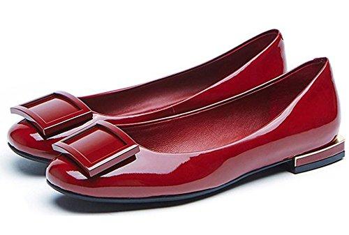 Bocca Una Metallo Verniciato Di Rosso Di Sola Cuoio YTTY Scarpa Testa Fermagli Superficiale In HSvzvx